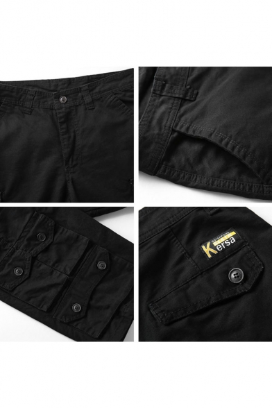 Men's Summer New Stylish Solid Color Button Embellished Multi-pocket Design Zip-fly Cotton Cargo Shorts