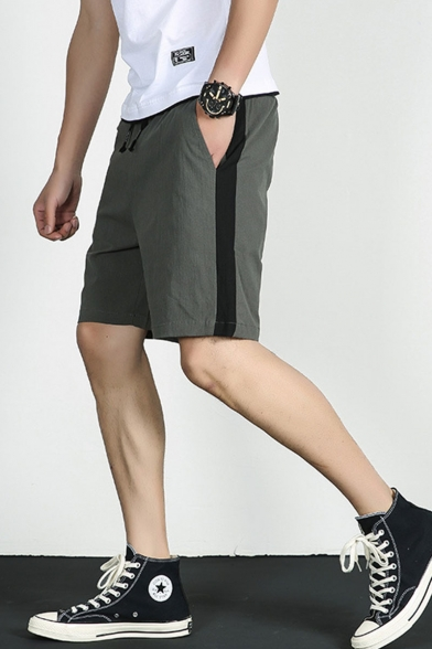 Men's Summer Trendy Colorblock Patched Side Drawstring Waist Casual Cotton Chino Shorts