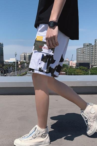 Men's Summer Trendy Popular Camouflage Printed Flap Pocket Side Leisure Cotton Cargo Shorts
