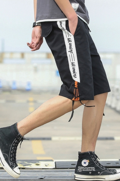 Men's Trendy Letter Printed Ribbon Embellished Street Style Casual Cotton Cargo Shorts