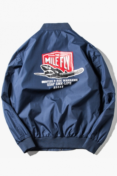 MILE FLY Letter Print Back Stand Collar Long Sleeve Zip Up Fitted Bomber Jacket