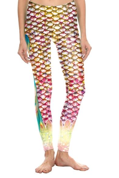 New Arrival Chic Metallic Fish Scale Printed Elastic Waist Skinny Fit Legging Pants LM550763 фото