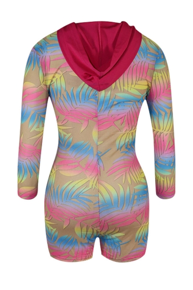 New Arrival Womens Multicolor Leaf Print Long Sleeve Zip-Front Stretch Mesh Hoodie Rompers