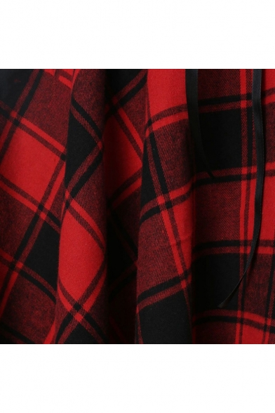New Stylish Plaid Printed Lace-Up Waist Midi A-Line Asymmetrical Dress