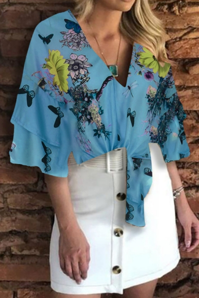 Summer Chic Fancy Floral Printed Layer Ruffled Sleeve V-Neck Tied Blouse