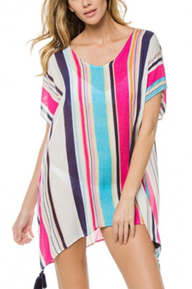 Summer Fashion Colorful Striped Print V-Neck Short Sleeve Holiday Mini Beach Cover Up Dress