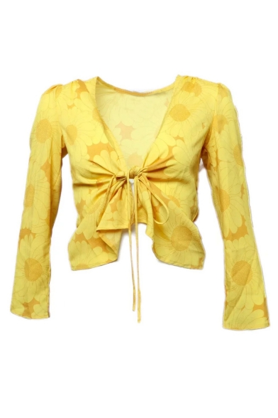 Summer New Arrival Womens Plunge V Neck Knotted Front Floral Print Fitted Sunscreen Holiday Blouse
