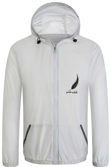 Summer Simple Letter Feather Print Lightweight Sun Protection Zip Up Hooded Skin Jacket