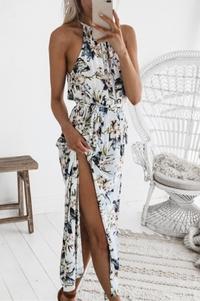 Summer Womens Chic Floral Printed Halter Neck Sexy Split Side Maxi White Beach Dress