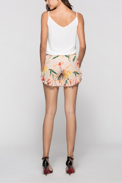 Summer Womens Summer Chic Fancy Floral Printed Elastic Waist Ruffled Hem Casual Shorts