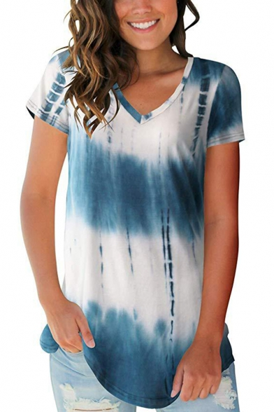 Fashionable Tie Dye V-neck Short Sleeve Regular Fitted T-Shirt for Women