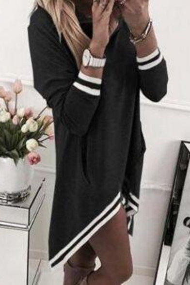 Unique Fashion Cowl Neck Striped Trim Long Sleeve Casual Loose Asymmetrical Dress