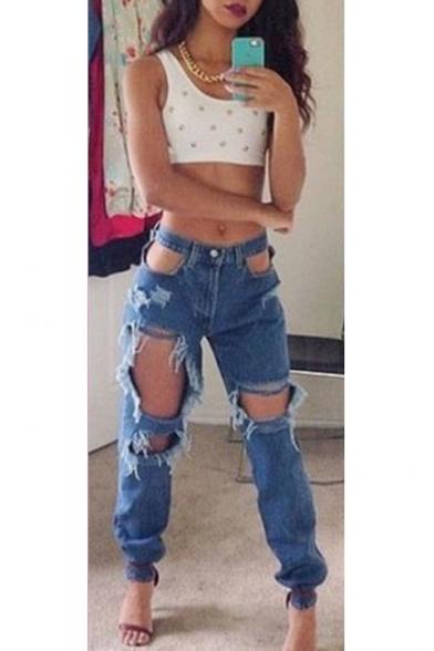 Womens Cool Dark Blue Sexy Cutout Distressed Hole Elasticized Cuff Casual Jeans
