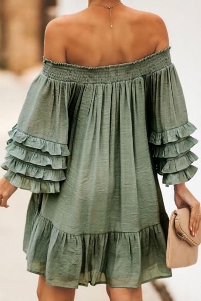 Womens Fashion Simple Plain Off the Shoulder Layered Ruffle Long Sleeve Mini Swing Dress