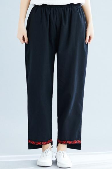 Womens Retro Printed Hem Elastic Waist Asymmetric Hem Loose Straight Fit Pants, LM548453