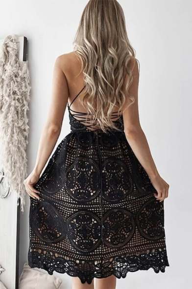 Womens Sexy Sleeveless Spaghetti Straps Open Back V-Neck Midi Cami Lace Dress