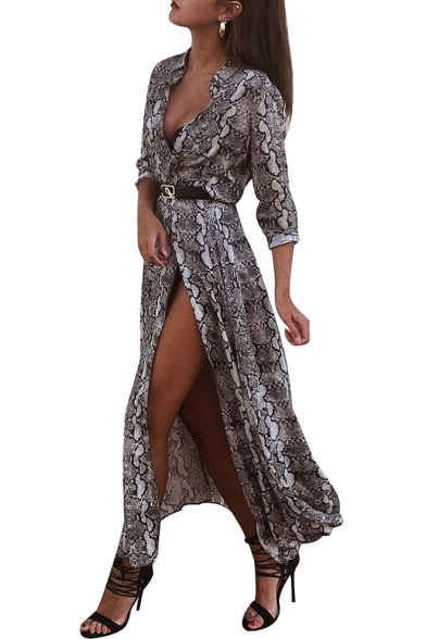 Womens Sexy Snakeskin Pattern V-Neck Long Sleeve Split Front Maxi Shirt Dress
