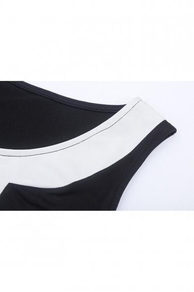 Womens Summer Chic Two-Tone Black and White Round Neck Sleeveless Mini Sheath Tank Dress