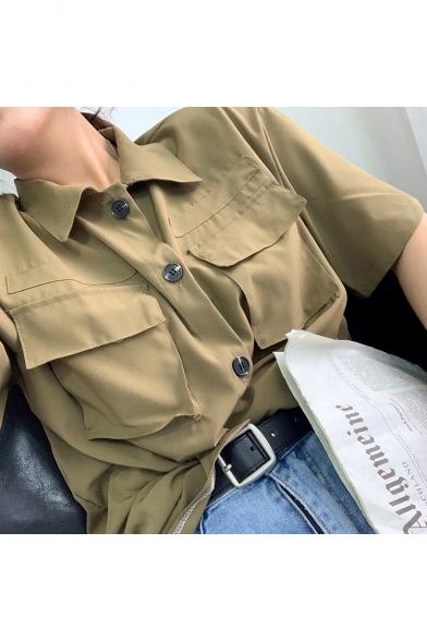Womens Summer Cool Flap Pocket Front Short Sleeve Button Down Work Shirt