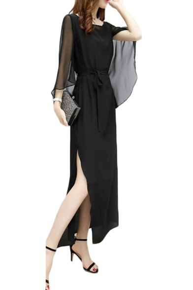 Womens Summer Plain Black Tied Waist Split Side Maxi Sheath Dress