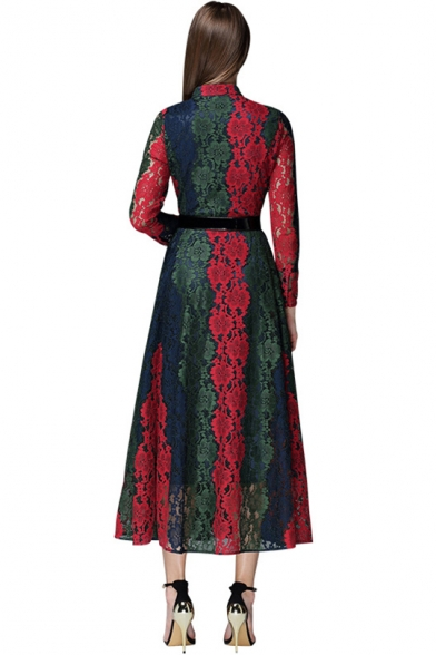Womens Trendy Stand Collar Long Sleeve Button Front Maxi Flared Lace Dress