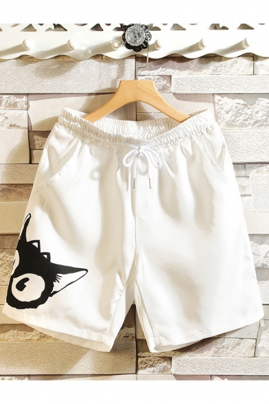 Cute Cartoon Cat Printed Drawstring Waist Casual Cotton Relaxed Sweat Shorts