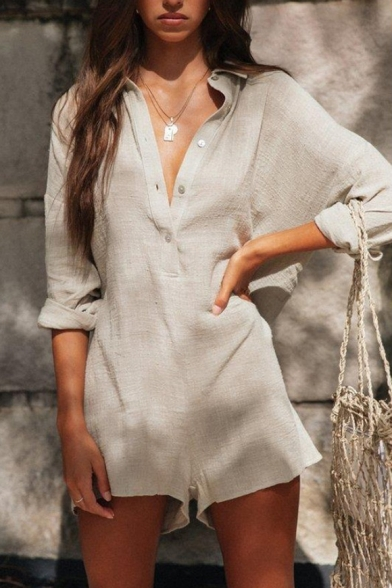 Fashionable Girls Summer Apricot Color Long Sleeve Button Front linen Holiday Romper