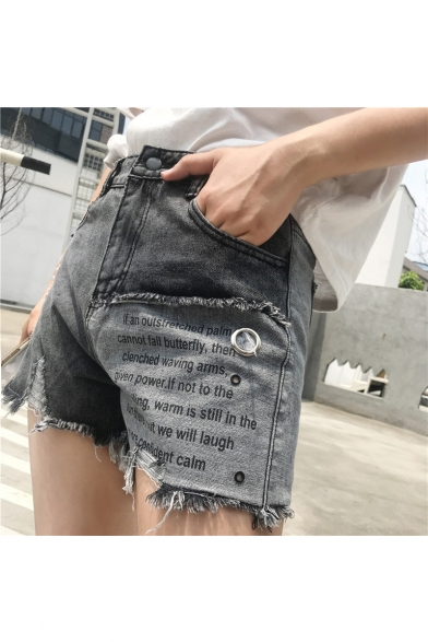 Girls Summer High Rise Letter Patched Ripped Raw Hem Grey Denim Shorts