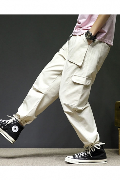 Guys New Fashion Simple Plain Multi-pocket Straight Loose Cotton Cargo Pants
