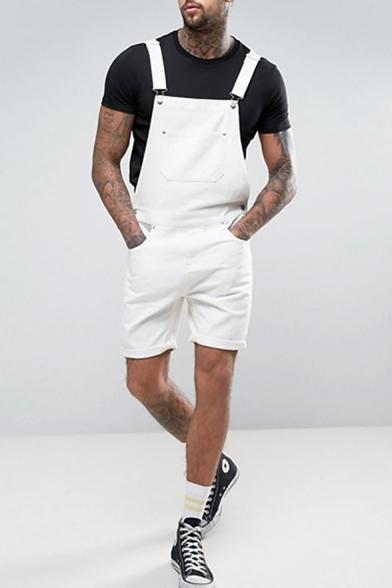 Guys New Stylish Simple Plain White Denim Rompers Shorts Bib Overalls