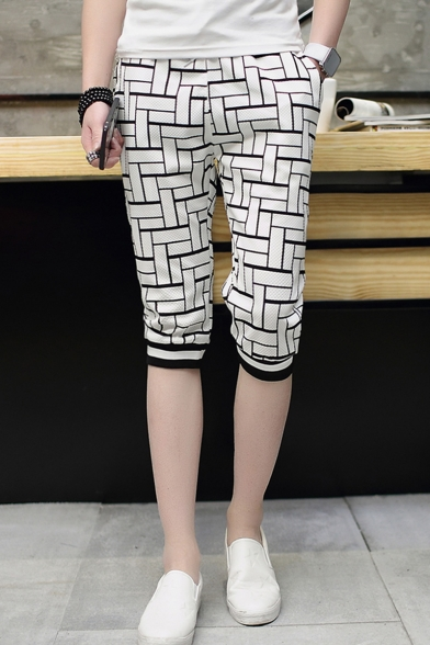 Guys Summer Trendy Colorblocked Plaid Pattern Striped Cuffs Casual Sweat Shorts