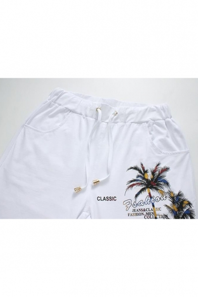 Hawaii Style Letter Tree Printed Drawstring Waist Men's Casual Cotton Beach Sweat Shorts