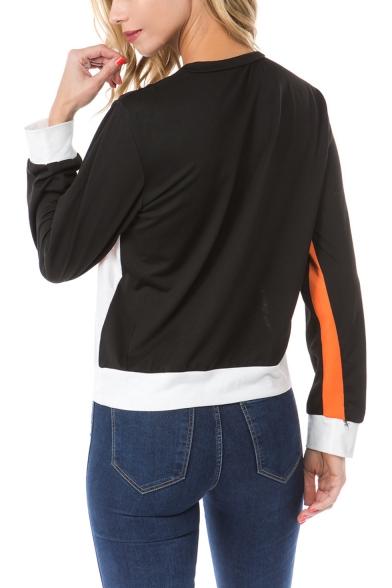 Hot Trendy Color Block Crew Neck Long Sleeve Regular Fit Pullover Sweatshirt