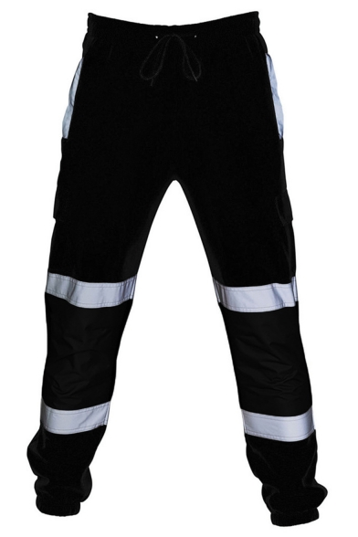 Men's Cool Fashion Colorblock Reflective Tape Patched Drawstring Waist Casual Loose Cargo Pants
