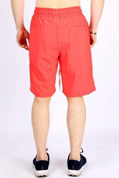 Men's New Fashion Letter Printed Drawstring Waist Loose Fit Sports Shorts
