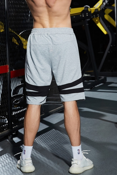 Men's Popular Simple Fashion Contrast Stripe Patched Elastic Waist Cotton Running Shorts Casual Sweat Shorts