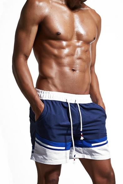 Men's Summer Fashion Colorblock Drawstring Waist Casual Beach Shorts Relaxed Sports Shorts