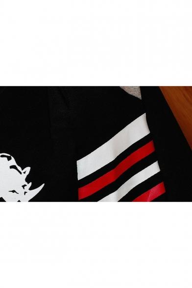 Men's Summer Fashion Letter SUPER Rhinoceros Diagonal Stripes Printed Drawstring Waist Sports Active Shorts