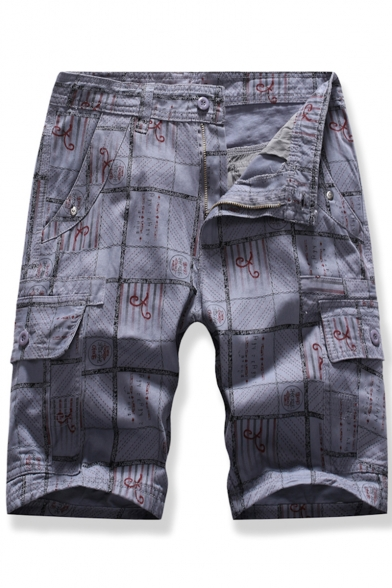 Men's Summer Fashion Printed Flap Pocket Side Zip-fly Casual Cargo Shorts