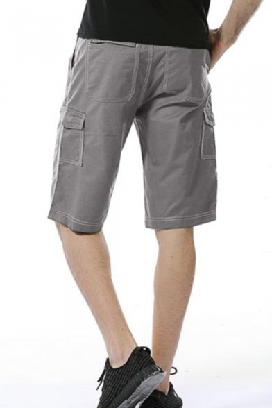 Men's Summer New Fashion Zipped Pocket Designed Simple Plain Casual Cargo Shorts