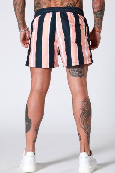 Men's Summer Trendy Colorblocked Stripe Printed Drawstring Waist Sports Active Shorts