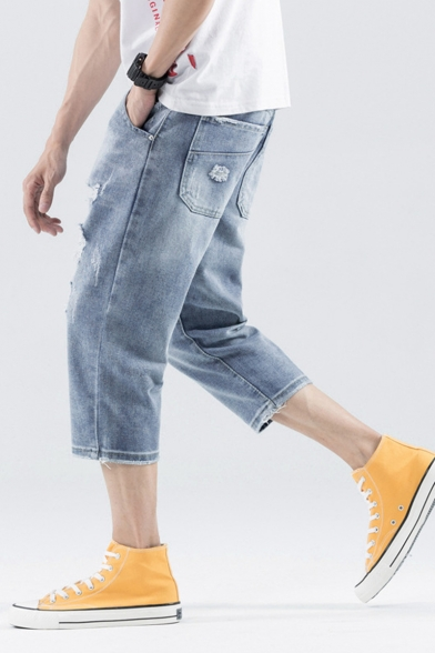 Men's Summer Trendy Ripped Patched Light Blue Casual Cropped Jeans