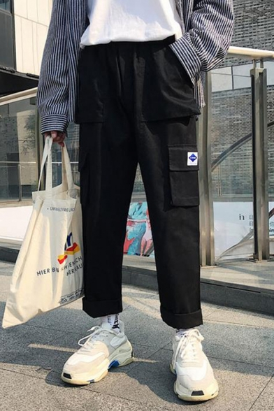 Men's Trendy Logo Patched Flap Pocket Side Rolled Cuffs Straight Loose Casual Cargo Pants