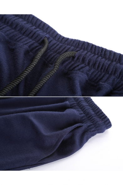 Men's Trendy Simple Plain Pleated Detail Flap Pocket Side Drawstring Waist Relaxed Sweat Shorts