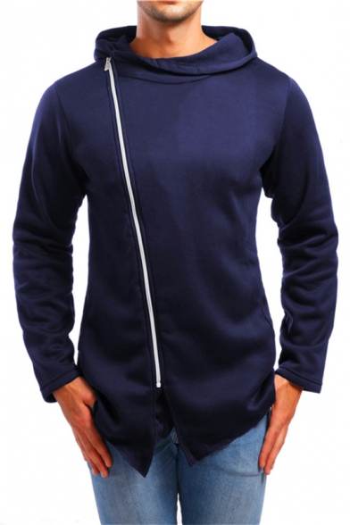 Mens Trendy Simple Solid Color Oblique Zipper Front Sport Fitted Hoodie