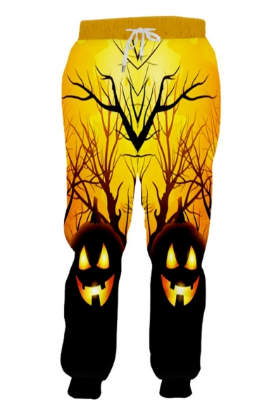 Popular Fashion Creative Halloween Pumpkin Head 3D Printed Drawstring Waist Yellow Casual Loose Jogging Sweatpants