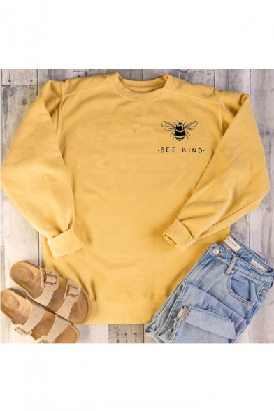 Popular Letter BEE KIND Graphic Print Crewneck Long Sleeve Pullover Sweatshirt