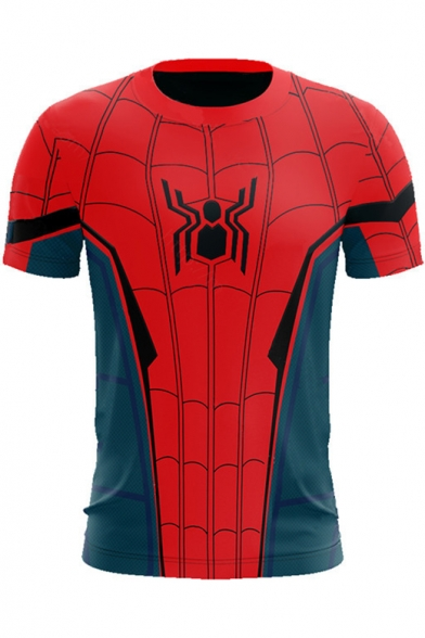 Popular Unique Red and Blue Spider Printed Round Neck Short Sleeve T-Shirt