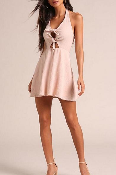 Stylish Simple Plain Sexy Knotted Cutout Halter Neck Open Back Sleeveless Mini Pink A-Line Dress