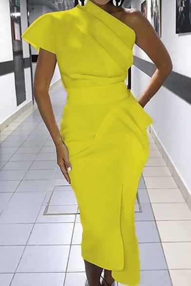 Summer Cool Designer Boutique One Shoulder Simple Plain Maxi Yellow Dress